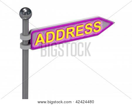 "3D Rendering Of Sign With Gold ""address"""