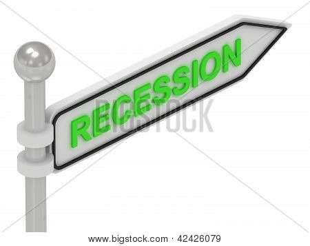 Recession Word On Arrow Pointer