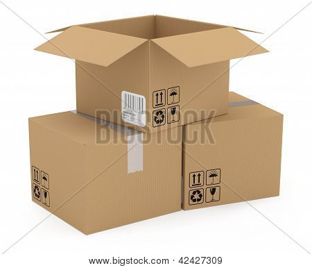 Cardboards Box Isolated On White. 3D Model