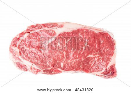 Raw Ribeye Steak On White
