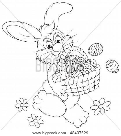 Easter Bunny with a basket of eggs