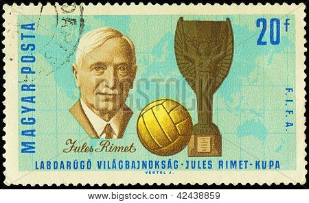 Hungary - Circa 1966: A Stamp Printed In Hungary Shows Jules Rimet , Circa 1966