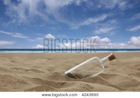 Beautiful Beach With Corked Bottle