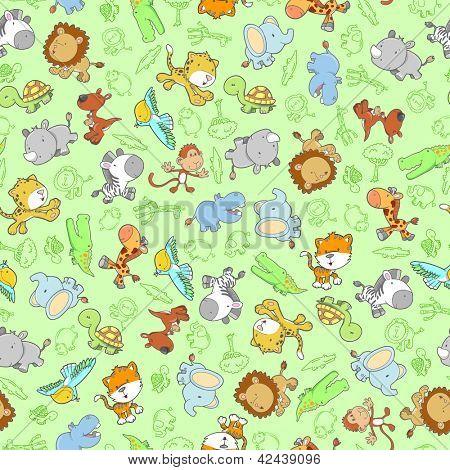 Animal Wildlife Safari Seamless Pattern Vector