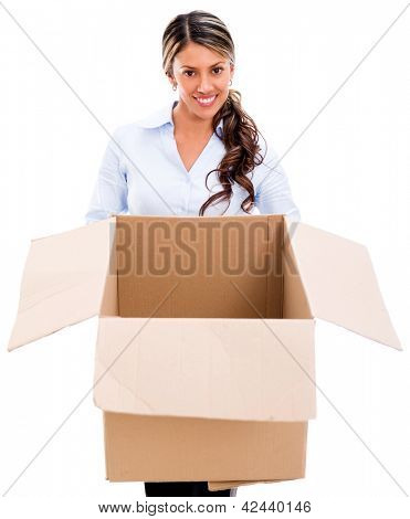 Thoughtful business woman with an empty box - isolated over white