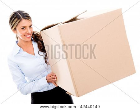 Business woman moving and a carrying cardboard box - isolated