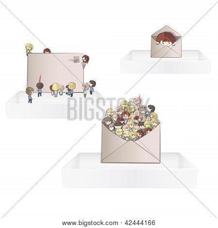 Kids inside a post on three white shelves inside a house.