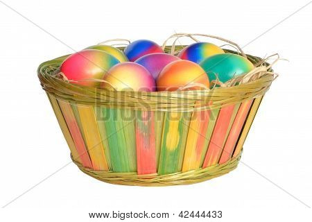 Coloured eastereggs are in basket