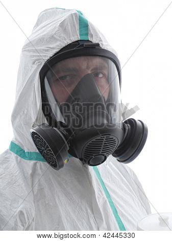 Closeup of spray painter wearing white coverall and respirator shot over white background