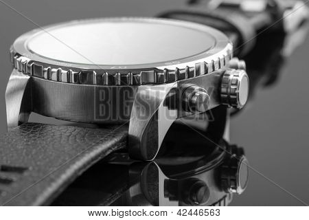 Visão macro do relógio caro