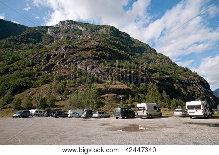 Motorhomes at campsite by Sognefjord, Aurland, Norway