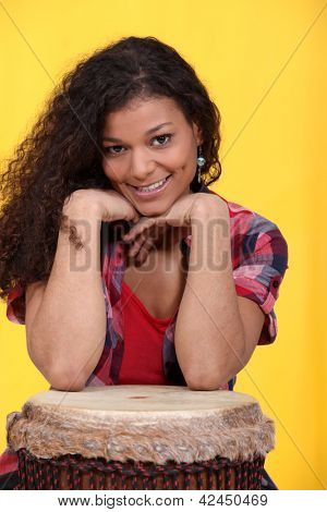Woman with bongo drum