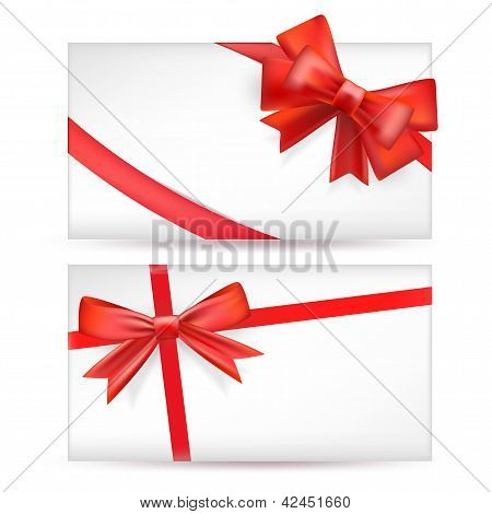 Cards With Red Bows With Ribbons