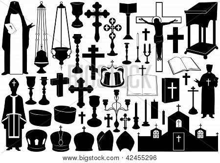 Set of religious elements