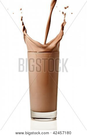 chocolate milk or protein milkshake flowing into a glass, making a big splash, isolated on white background