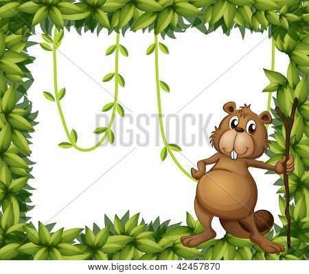 Illustration of a beaver holding a stick on a leafy frame