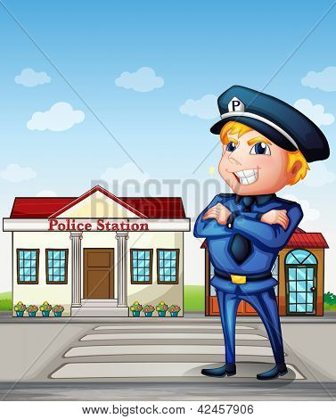 Illustration of a policeman across the police station