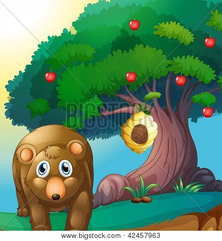 Illustration of a bear and an apple tree with a beehive