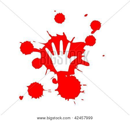 Stop Violence Blood Hand Print