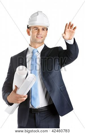 Engineer in hard hat keeps blueprints and waves hand, isolated on white. Concept of successful construction