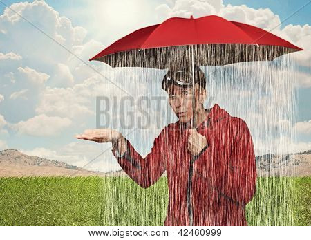 a girl caught in a rain shower under her umbrella