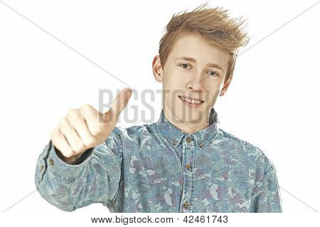 Teenager gives thumps up
