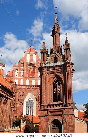 St. Anna's Church and Saints Francis and Bernardine Church in Vilnius,  Lithuania.