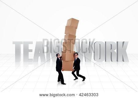 Trabajo en equipo de negocios aislado