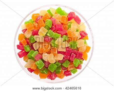 Candied Fruits In A Glass Bowl.