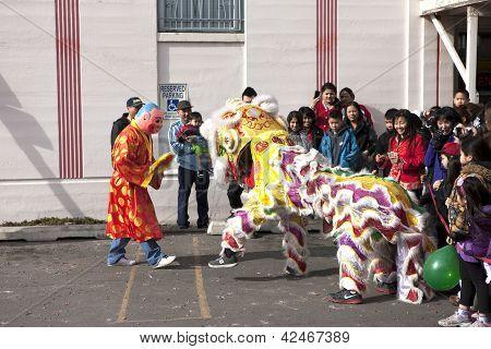 Lion Dance Entertains Crowd.