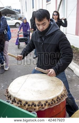Asian Drummer On Lunar New Years.
