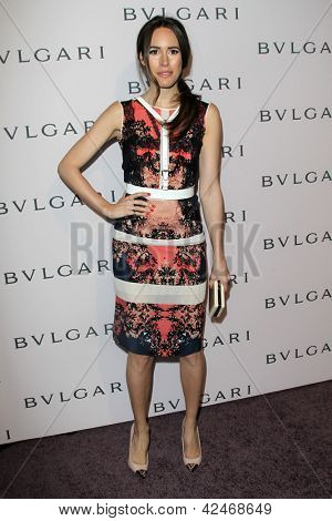 LOS ANGELES - FEB 19:  Louise Roe arrives at the BVLGARI Celebrates Elizabeth Taylor's Jewelry Collection at the BVLGARI on February 19, 2013 in Beverly Hills, CA
