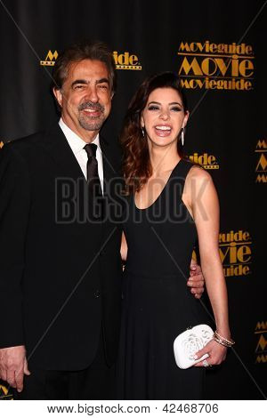 LOS ANGELES - FEB 15:  Joe Mantegna, Gia Mantegna arrives at the 2013 MovieGuide Awards at the Universal Hilton Hotel on February 15, 2013 in Los Angeles, CA