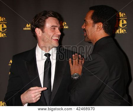 LOS ANGELES - FEB 15:  Daniel Goddard, Kristoff St. John arrives at the 2013 MovieGuide Awards at the Universal Hilton Hotel on February 15, 2013 in Los Angeles, CA