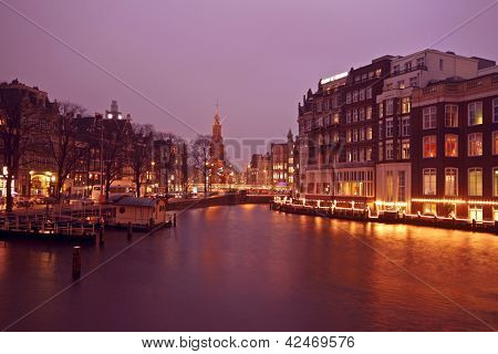 View on the Munt tower in Amsterdam the Netherlands at twilight