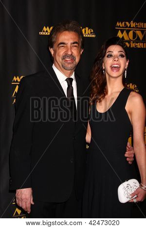 LOS ANGELES - FEB 15:  Joe Mantegna, Gia Mantegna arrive at the 2013 MovieGuide Awards at the Universal Hilton Hotel on February 15, 2013 in Los Angeles, CA
