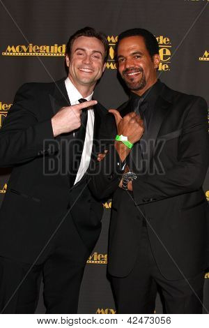 LOS ANGELES - FEB 15:  Daniel Goddard, Kristoff St. John arrive at the 2013 MovieGuide Awards at the Universal Hilton Hotel on February 15, 2013 in Los Angeles, CA
