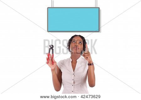 Young African American Woman Looking To Unhook A Empty Board