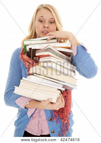 Woman Huge Stack Of Books