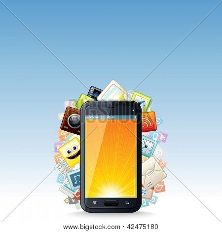 Touchscreen Smart phone with Cloud of Application Icons. Vector Technology Background.