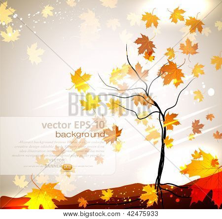 Autumn vector background with a tree and flying leaves