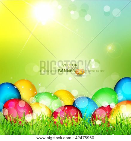 Vector painted Easter eggs lying in the grass against the sky and the bright rays of the sun