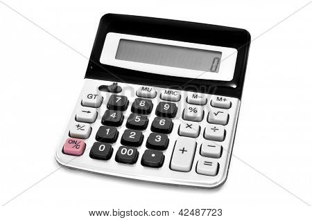 an electronic calculator on a white background