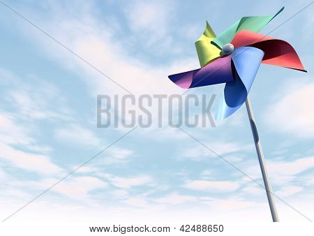 Colorful Pinwheel On Blue Sky Perspective
