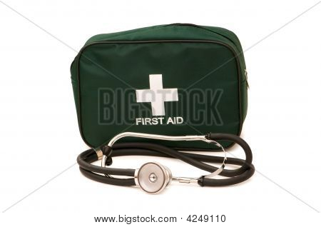 First Aid Kit And Stethoscope Isolated On The White