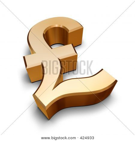 3d Golden Pound Symbol