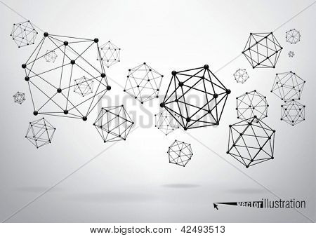 Composition of wireframe elements in the form of icosahedron with vertices in different perspective
