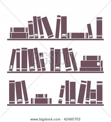Books on the shelves simply retro illustration. Vintage shelf objects isolated on white background