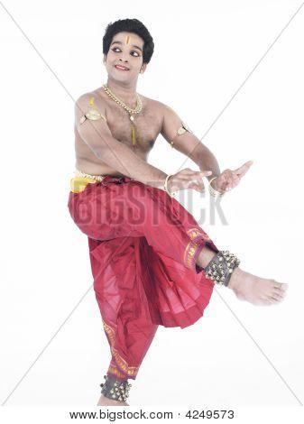 Male Bharathanatyam Dancer Of Tamil Nadu In South India