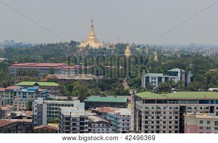 Bird's eye view of shwedagon paya (pagoda) stupa. Yangon. Myanmar.